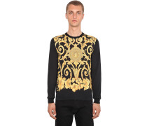 GOLD HIBISCUS PRINTED SILK PULLOVER