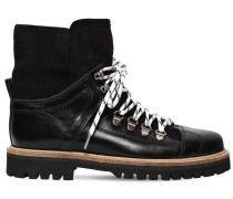 20MM EDNA LEATHER & SHEARLING BOOTS