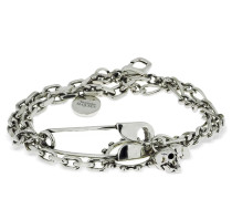 CHAIN BRACELET W/SAFETY PIN & CHARMS