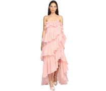 RUFFLED SILK GEORGETTE LONG DRESS