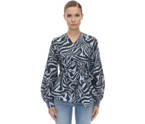 PRINTED COTTON POPLIN WRAP SHIRT