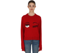 EYE INTARSIA WOOL BLEND CREWNECK PULLOVER