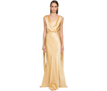 LANGES KLEID AUS STRETCH-SATIN