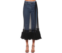 TULLE EMBELLISHED CROP DENIM JEANS