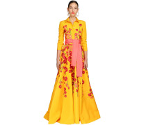 EMBROIDERED SILK FAILLE SHIRT GOWN