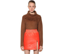 FRINGED COLLAR BRUSHED MOHAIR PULLOVER
