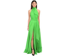 HALTER NECK SILK SATIN LONG DRESS