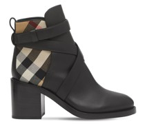 70MM PRYLE LEATHER & CHECK ANKLE BOOTS
