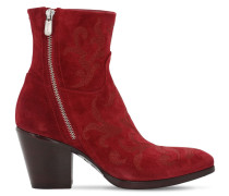70MM EMBROIDERED SUEDE ANKLE BOOTS