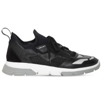 LOGO TECHNO & LEATHER SNEAKERS