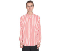 STRIPED VISCOSE SHIRT W/ CHEST POCKET