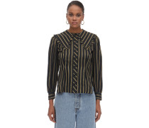 WIDE COLLAR STRIPED VISCOSE SHIRT