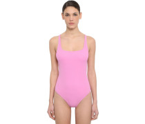 BACK CROSSED TEXTURED ONE PIECE SWIMSUIT