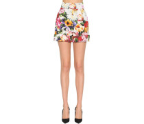FLORAL PRINT STRETCH COTTON SHORTS