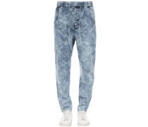 BLEACHED COTTON DENIM JOGGING JEANS