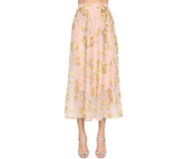 EMBROIDERED CAPE MIDI SKIRT W/ SEQUINS