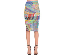 PRINTED STRETCH TULLE PENCIL SKIRT