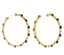 GRANDE CANDIES MALACHITE HOOP EARRINGS
