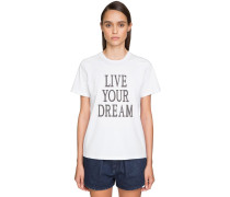 'LIVE OUR DREAM' COTTON JERSEY T-SHIRT
