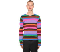 STRIPED WOOL BLEND KNIT PULLOVER