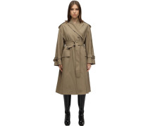 BELTED WOOL BLEND TWILL COAT