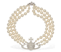 THREE ROW FAUX PEARL NECKLACE