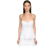 COTTON BLEND CAMISOLE TOP W/ LACE