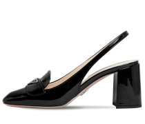 70MM PATENT LEATHER SLING BACK PUMPS