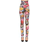 FLORAL PRINT STRETCH JERSEY LEGGINGS