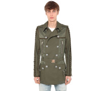 DOUBLE BREASTED COTTON BLEND TRENCH COAT