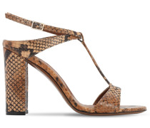 95MM PYTHON PRINT LEATHER SANDALS