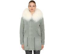 COTTON CANVAS PARKA W/ FUR