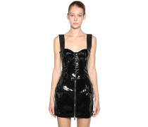 PATENT LEATHER CORSET CROPPED TOP