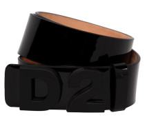 35MM LOGO PATENT LEATHER BELT
