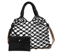 KNOTTED FAUX LEATHER TOTE BAG