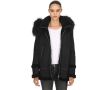 HOODED SHEARLING PARKA W/ FUR