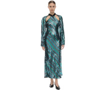 CELIA SEQUINED VISCOSE MIDIKLEID