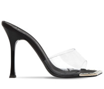 110MM PLEXI & LEATHER SANDALS