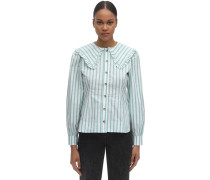 WIDE COLLAR STRIPED COTTON POPLIN SHIRT