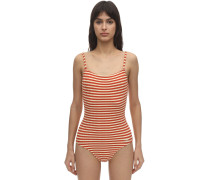 NINA STRIPED RIBBED ONE PIECE SWIMSUIT