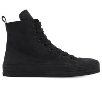 SUEDE LEATHER HIGH TOP SNEAKERS W/ ZIP