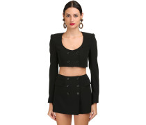 CROPPED DOUBLE BREASTED WOOL JACKET