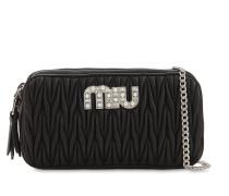QUILTED LEATHER DOUBLE ZIP BAG W/ LOGO