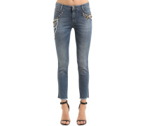 ENGE JEANS AUS STRETCH-DENIM MIT STICKEREI