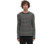 LOGO PATCH STRIPED COTTON JERSEY T-SHIRT