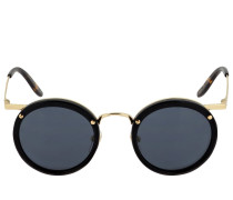 ROUND METAL SUNGLASSES W/ACETATE DETAIL