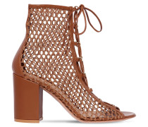 85MM MESH & LEATHER ANKLE BOOTS