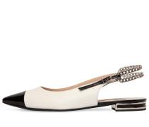 10MM CHAINED LEATHER SLING BACK FLATS