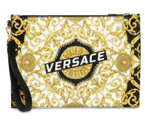LOGO BAROQUE PRINT LEATHER POUCH
