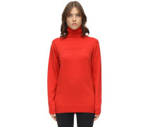 EMBOSSED WOOL BLEND KNIT PULLOVER